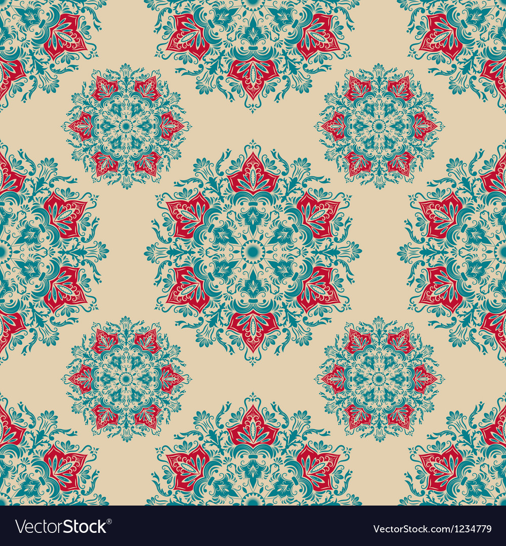 Damask floral ornamental pattern vector | Price: 1 Credit (USD $1)