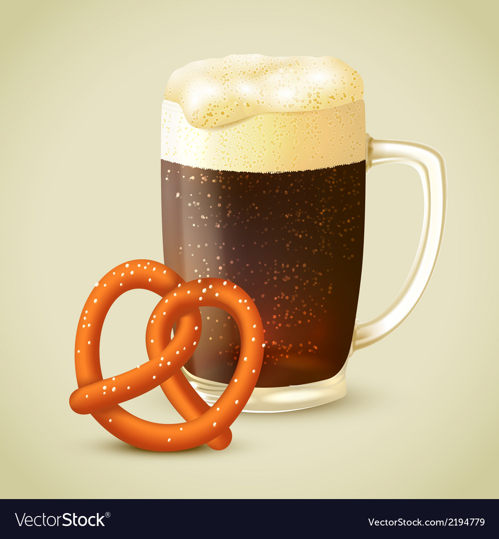 Dark beer and pretzel vector | Price: 1 Credit (USD $1)
