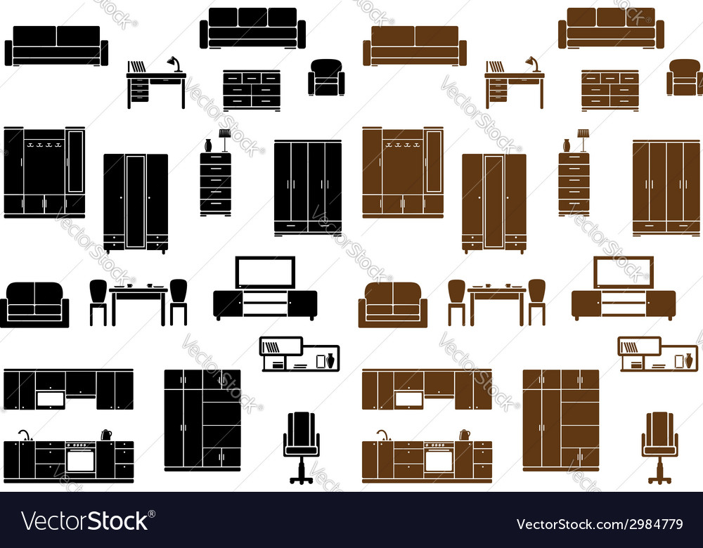Furniture flat icons set vector | Price: 1 Credit (USD $1)