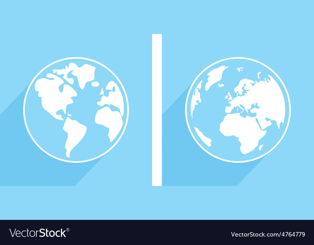 Hand drawn blue and white earth with long shadow vector | Price: 1 Credit (USD $1)