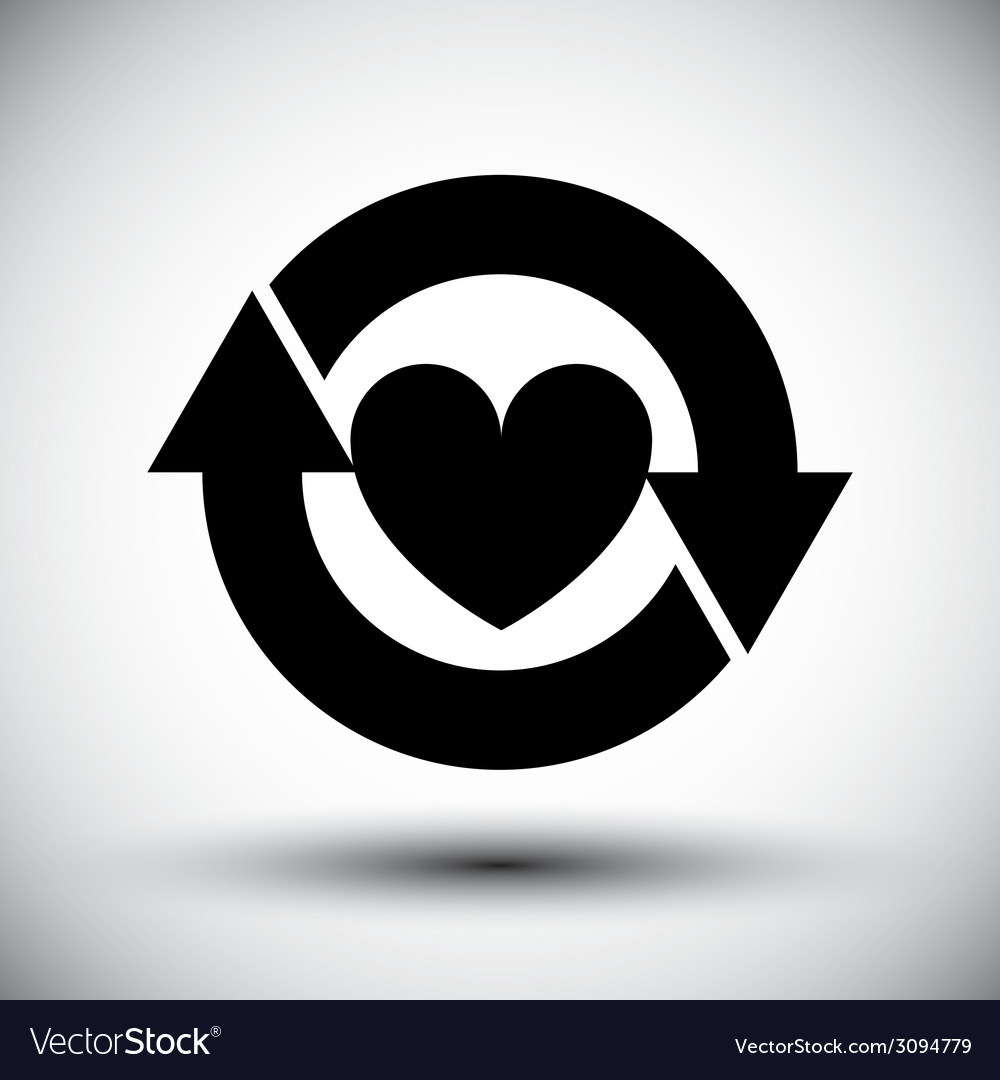 Heart surrounded by arrows simple single color vector | Price: 1 Credit (USD $1)