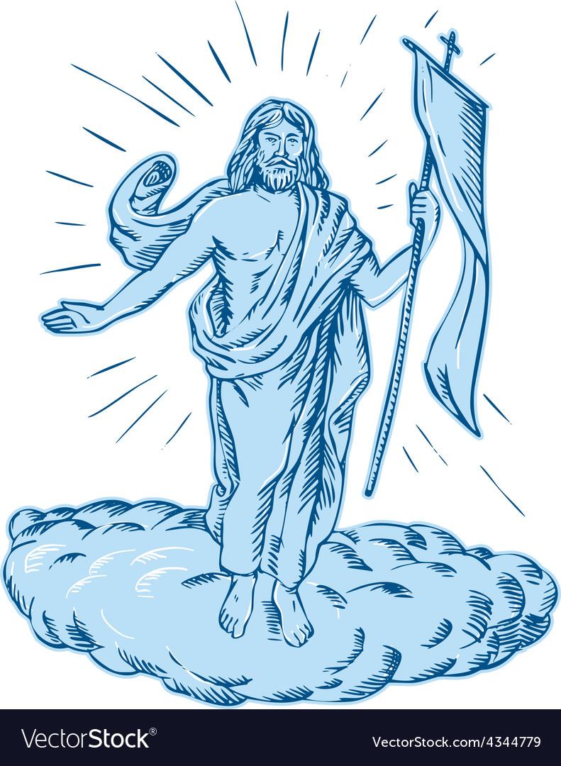Jesus christ resurrection etching vector | Price: 1 Credit (USD $1)