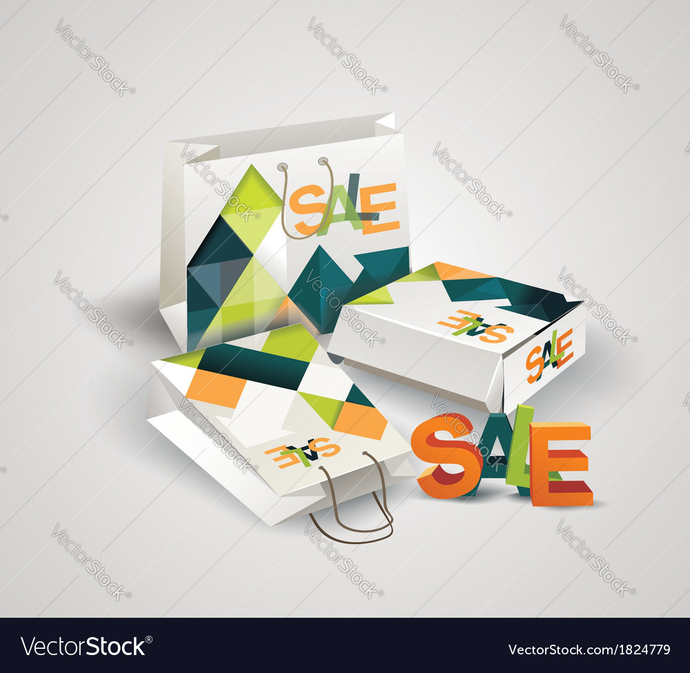 Sale tag paper bags and box with 3d letters sale vector | Price: 1 Credit (USD $1)