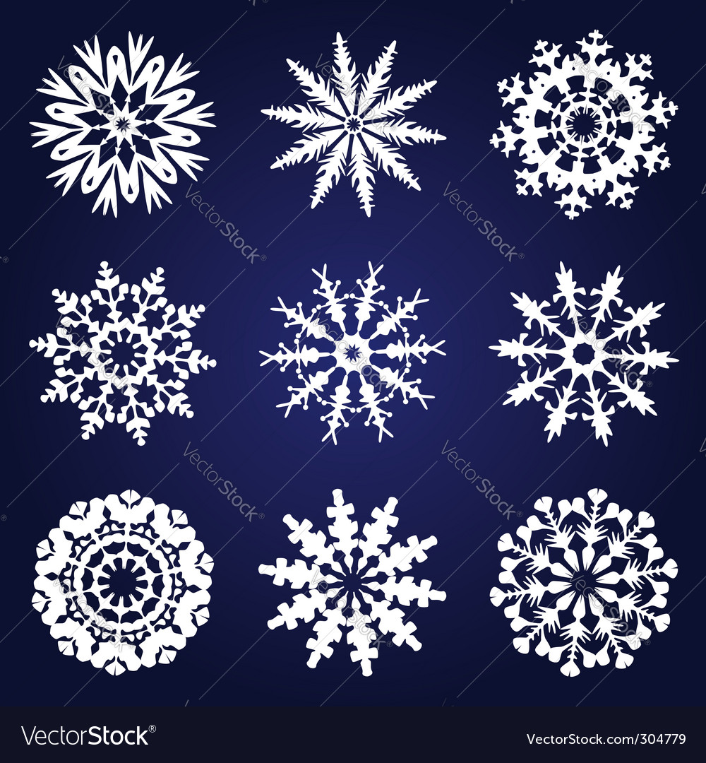 Set of 9 snowflakes vector | Price: 1 Credit (USD $1)