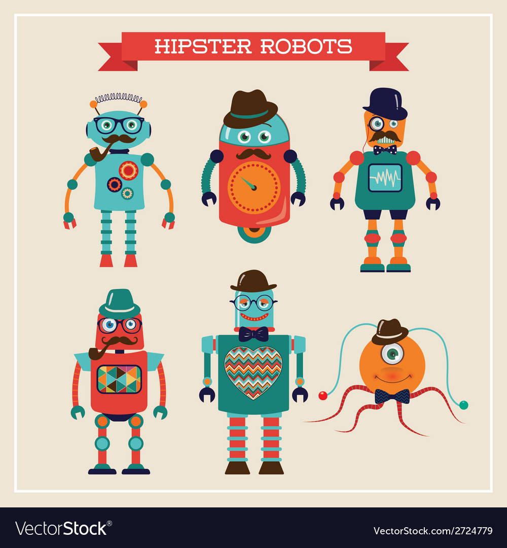 Set of cute retro vintage hipster robots vector | Price: 1 Credit (USD $1)