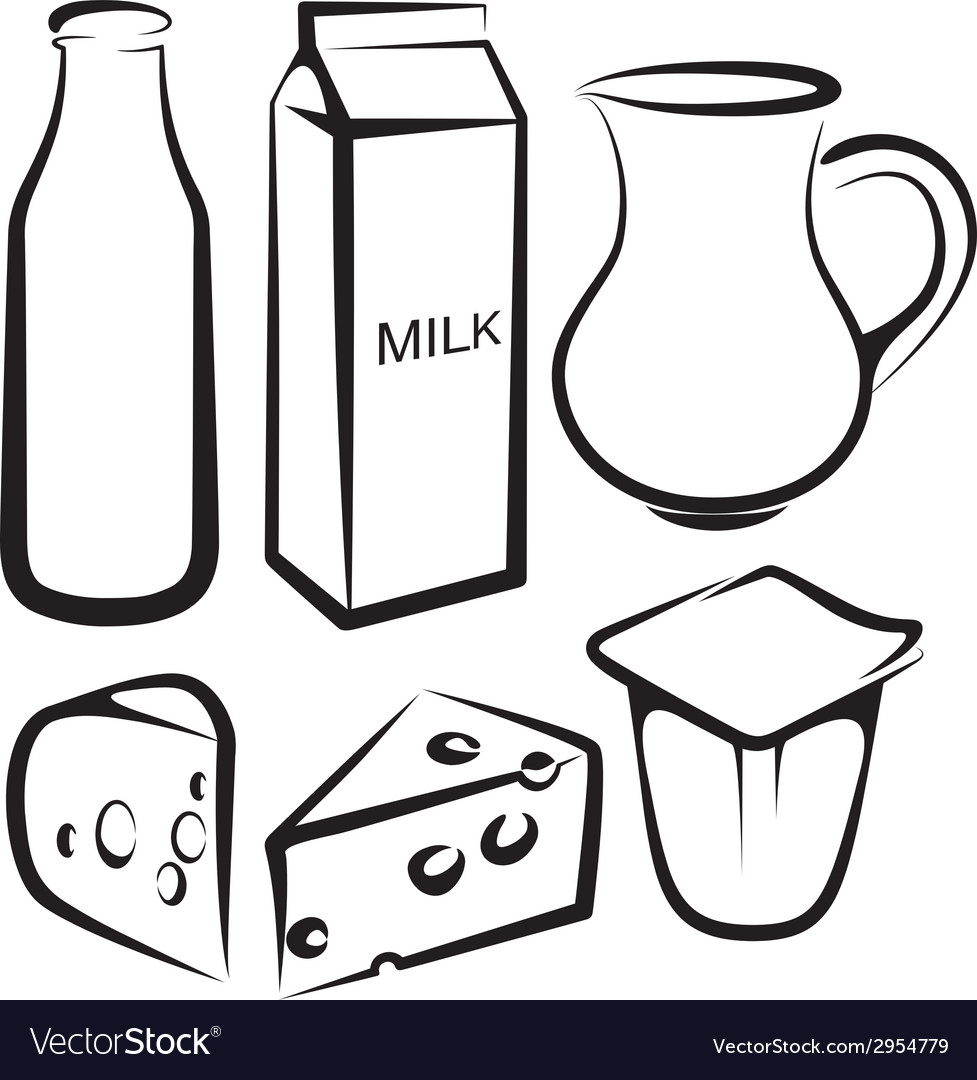 Set of dairy products vector | Price: 1 Credit (USD $1)