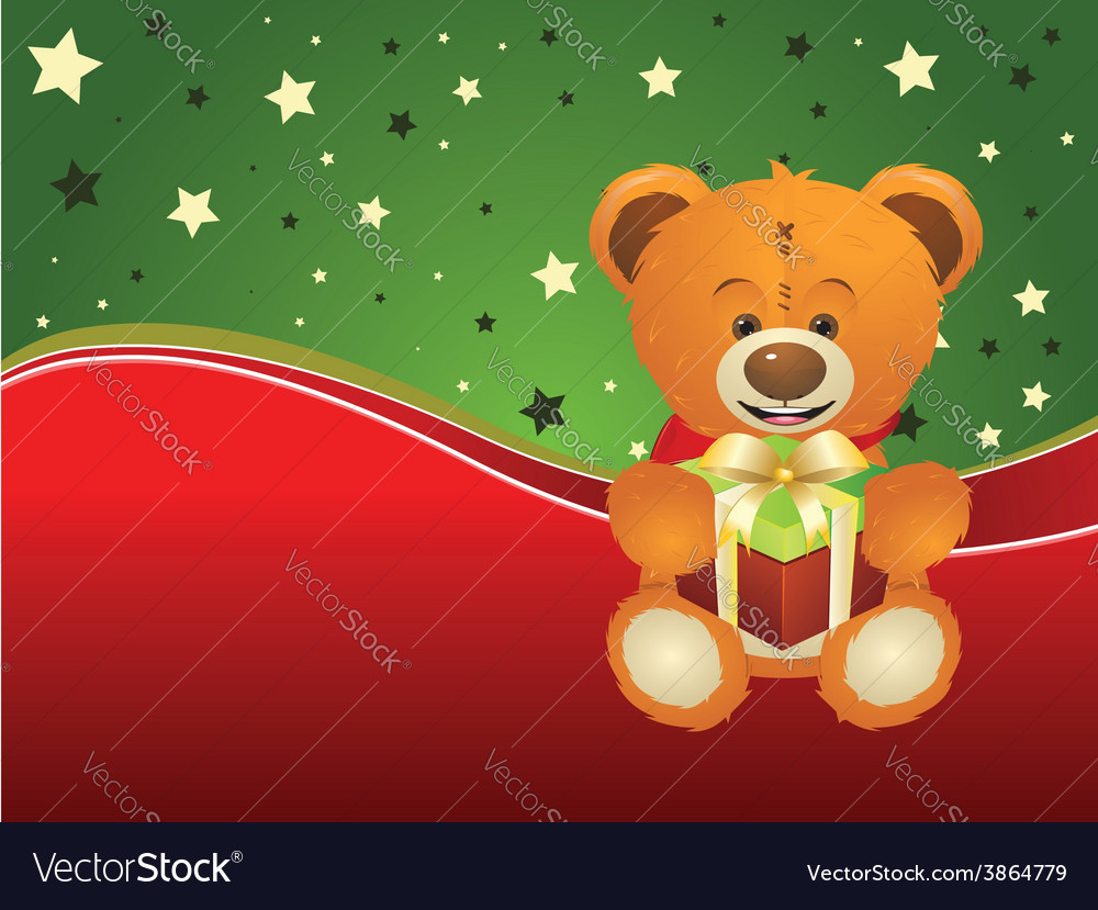 Teddy bear with gift box3 vector | Price: 1 Credit (USD $1)