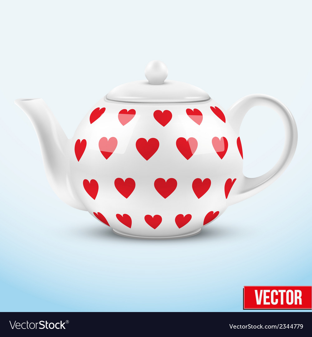White ceramic teapot with hearts texture vector | Price: 1 Credit (USD $1)