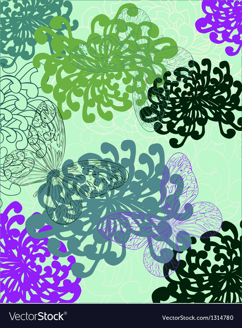A background in bright flowers and butterflies vector | Price: 1 Credit (USD $1)