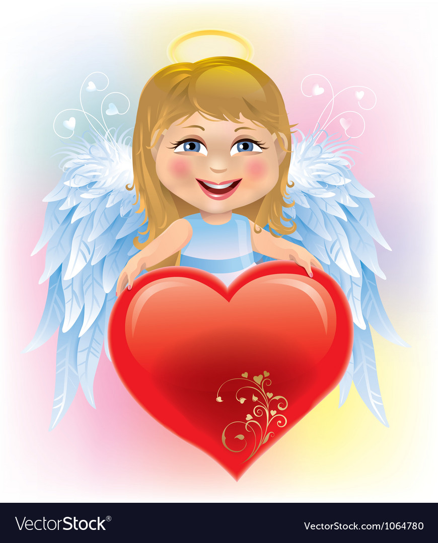 Angel little girl and valentines day heart vector | Price: 3 Credit (USD $3)
