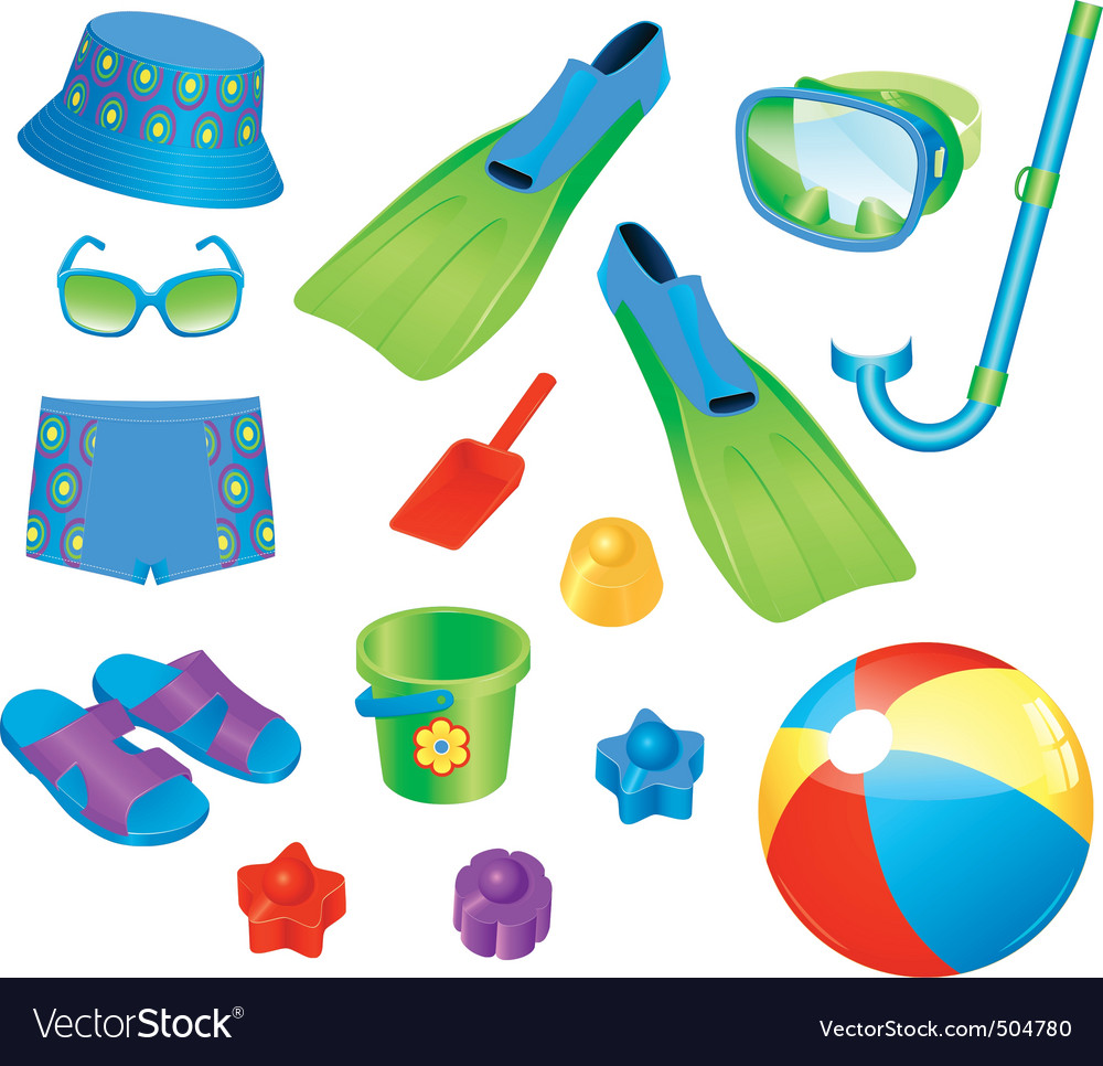 Beach accessories vector | Price: 3 Credit (USD $3)