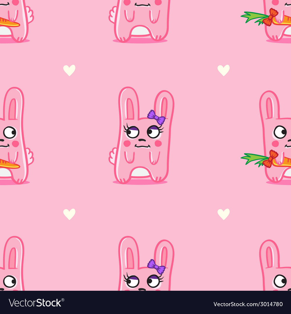 Funny cartoon bunnies st valentine day seamless vector | Price: 1 Credit (USD $1)