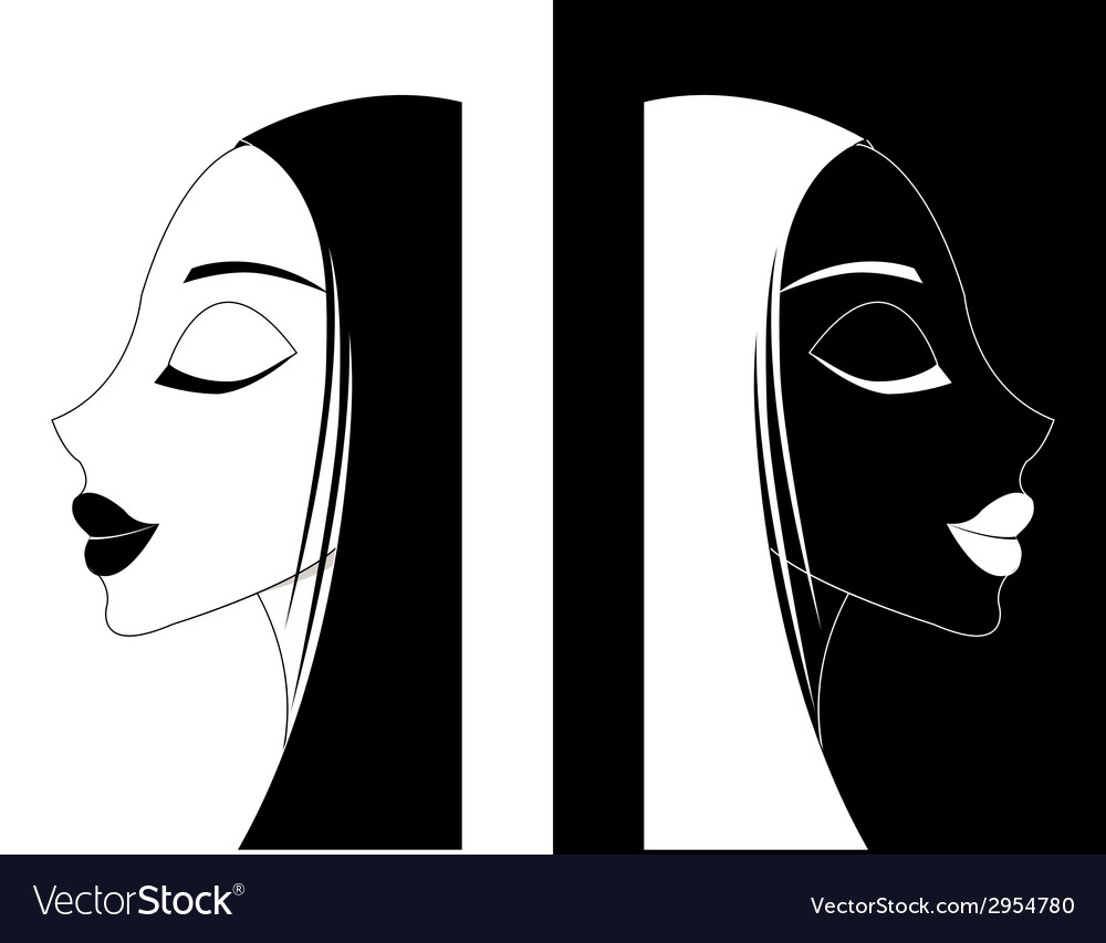 Girl or women ying-yang vector | Price: 1 Credit (USD $1)