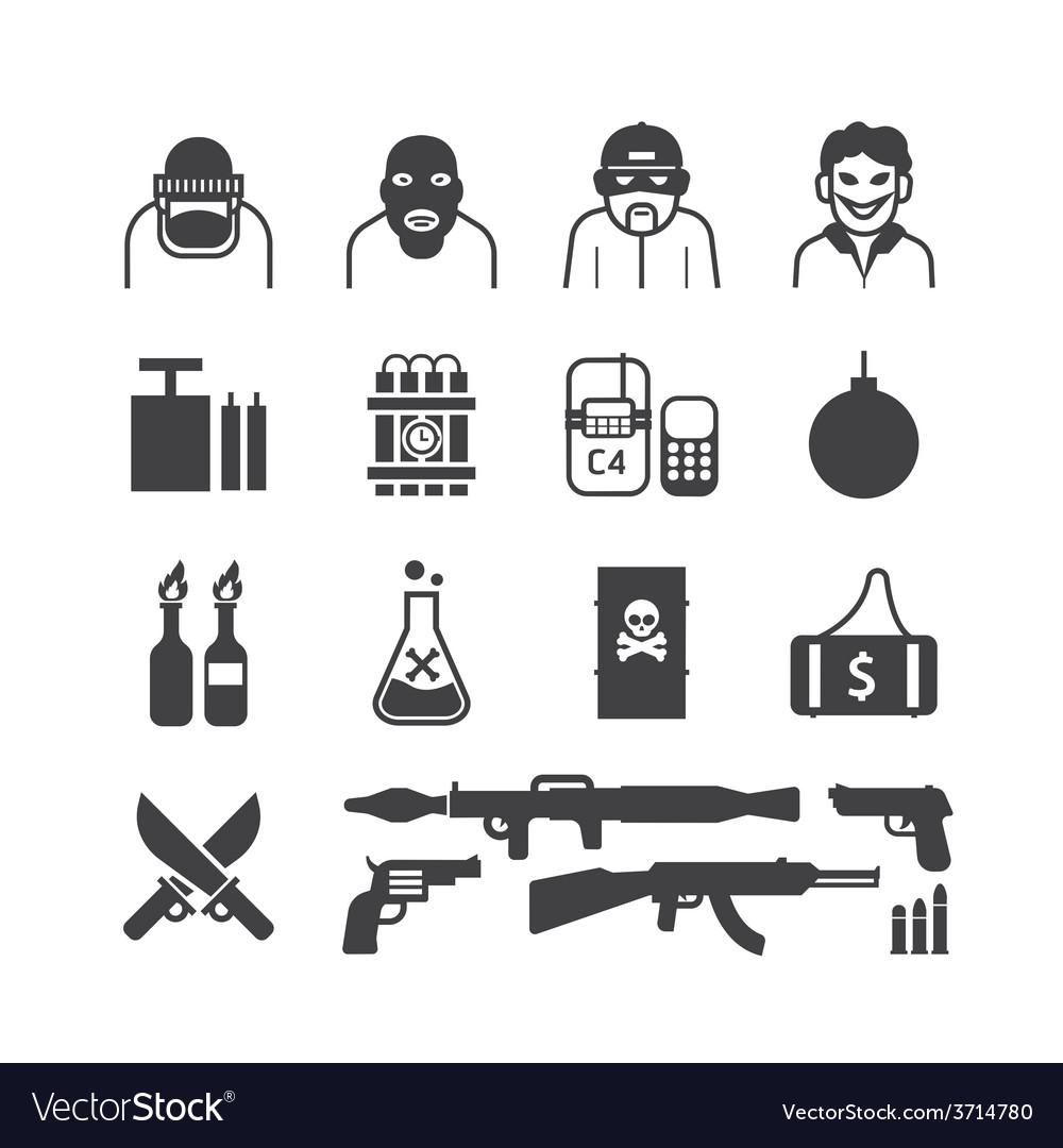 Icons set terrorist design vector | Price: 1 Credit (USD $1)