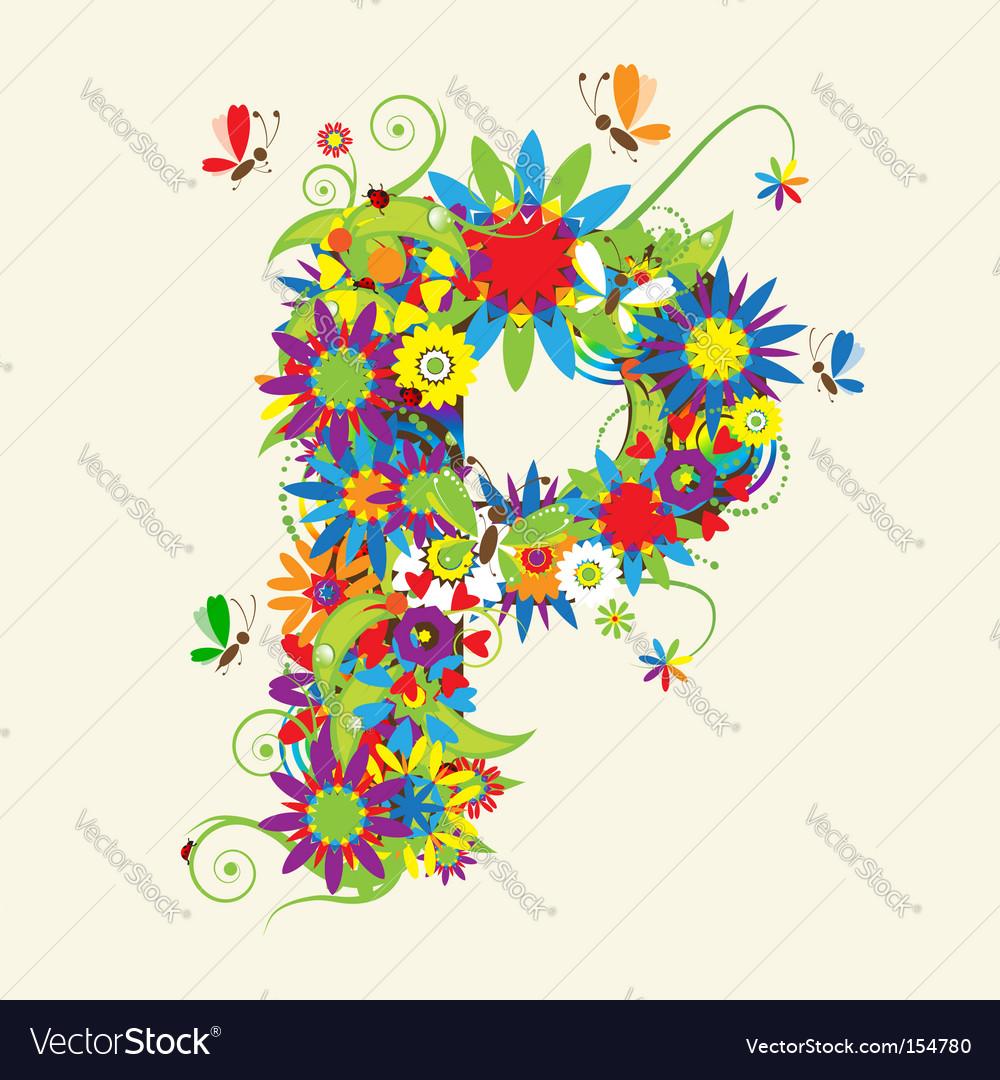 Letter p floral design vector | Price: 1 Credit (USD $1)