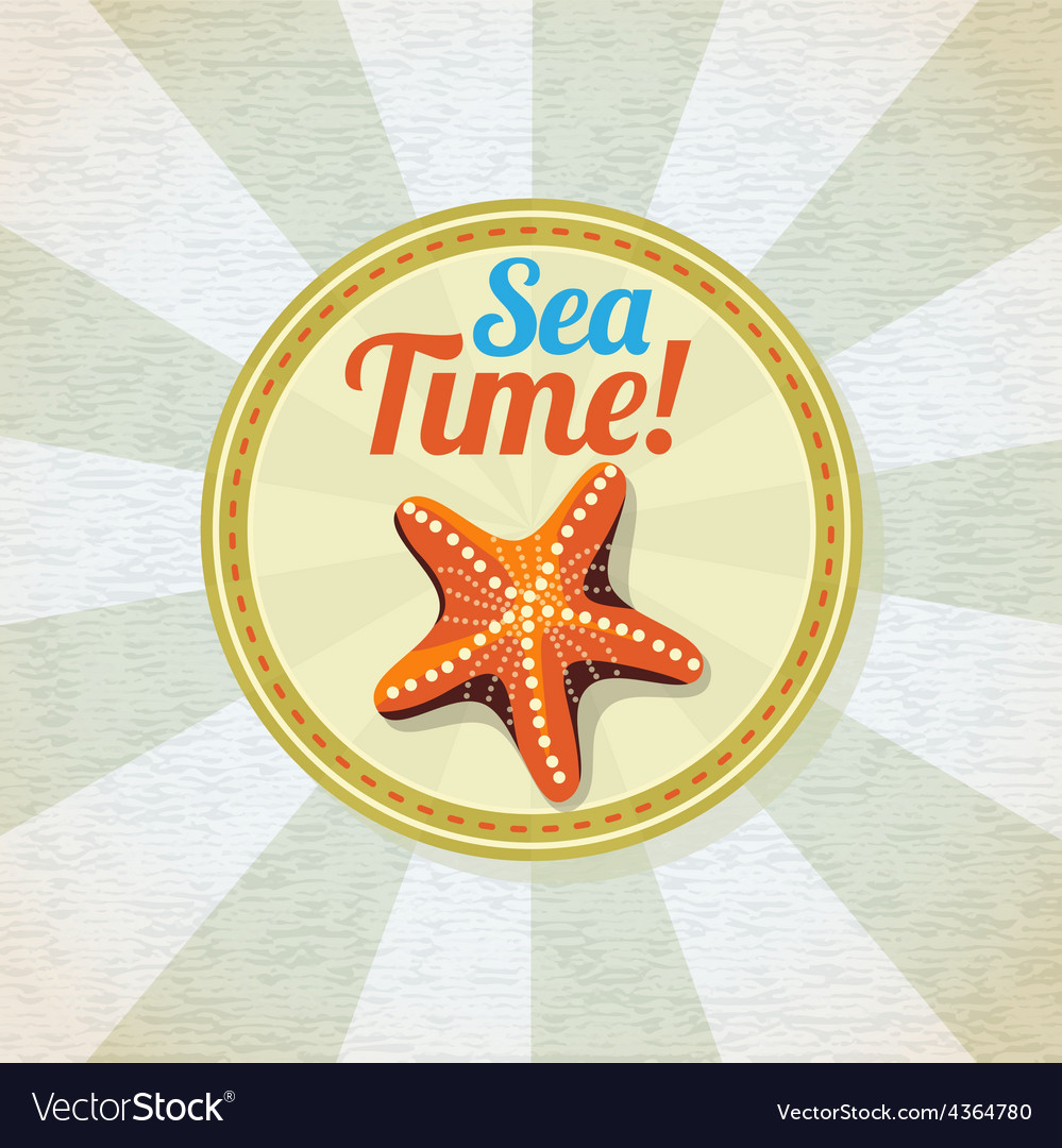 Ocean starfish on the sand retro background vector | Price: 3 Credit (USD $3)