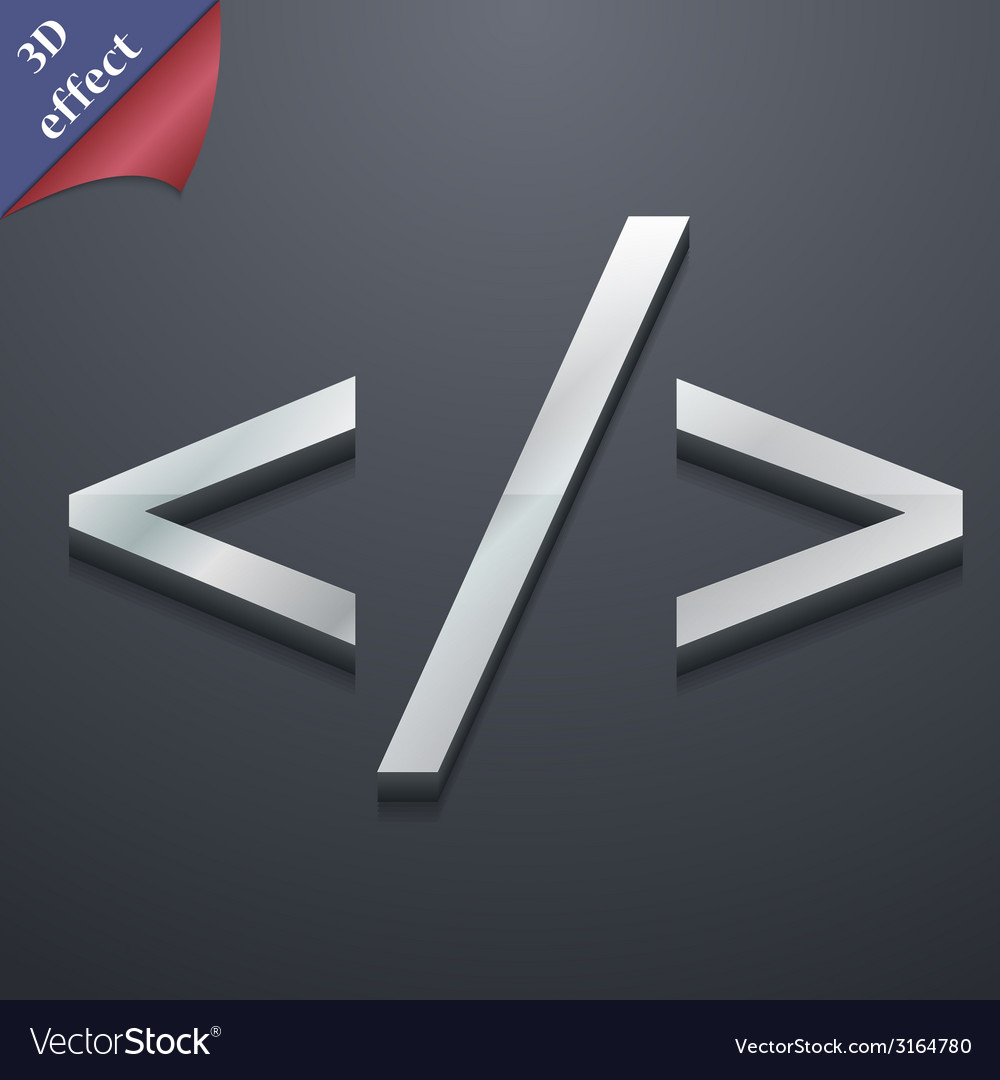 Programming code icon symbol 3d style trendy vector | Price: 1 Credit (USD $1)