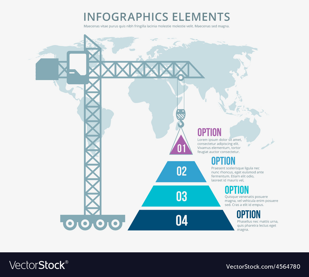Pyramid chart options construction infographics vector | Price: 1 Credit (USD $1)