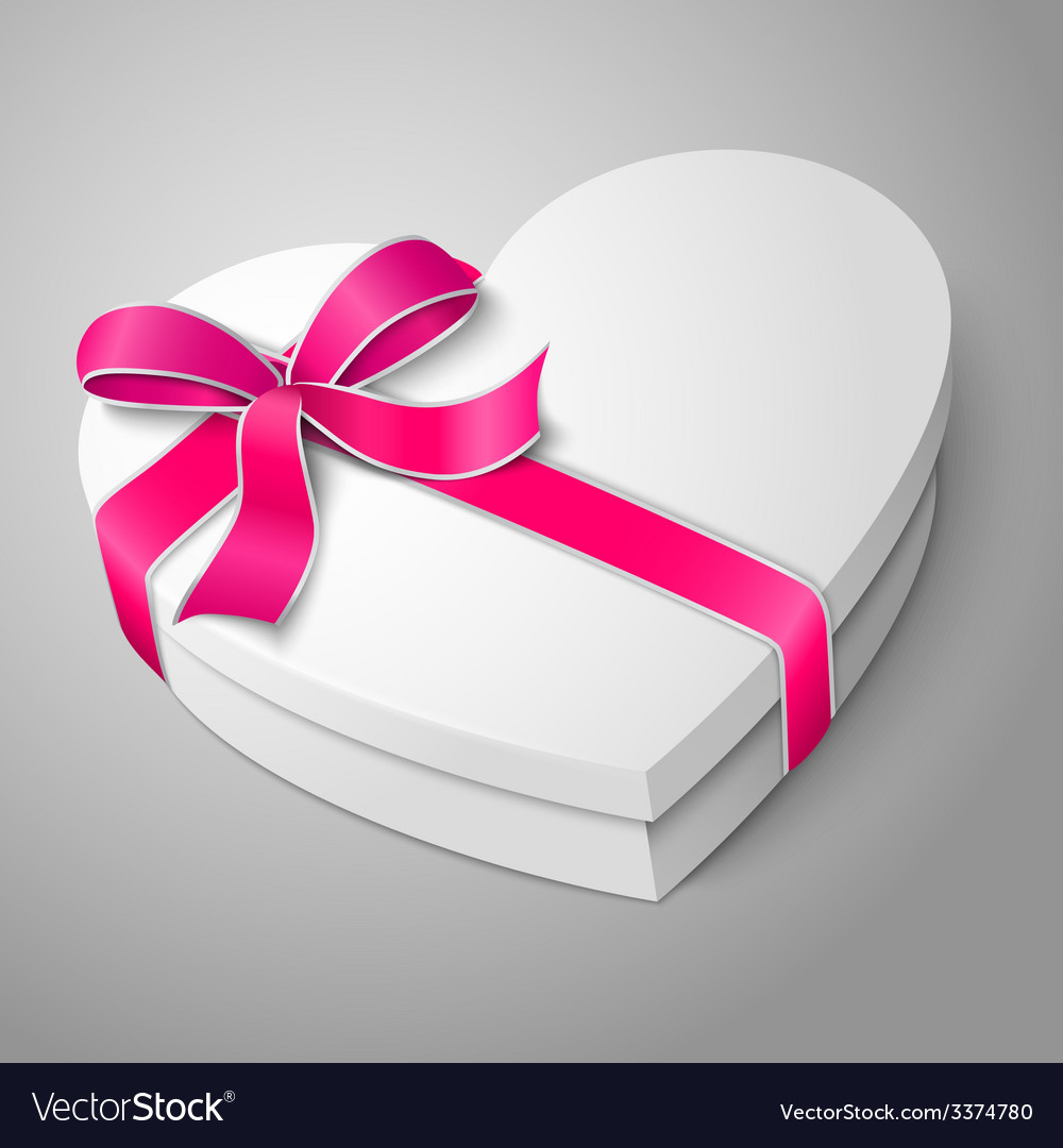 Realistic blank white heart shape box with pink vector | Price: 3 Credit (USD $3)
