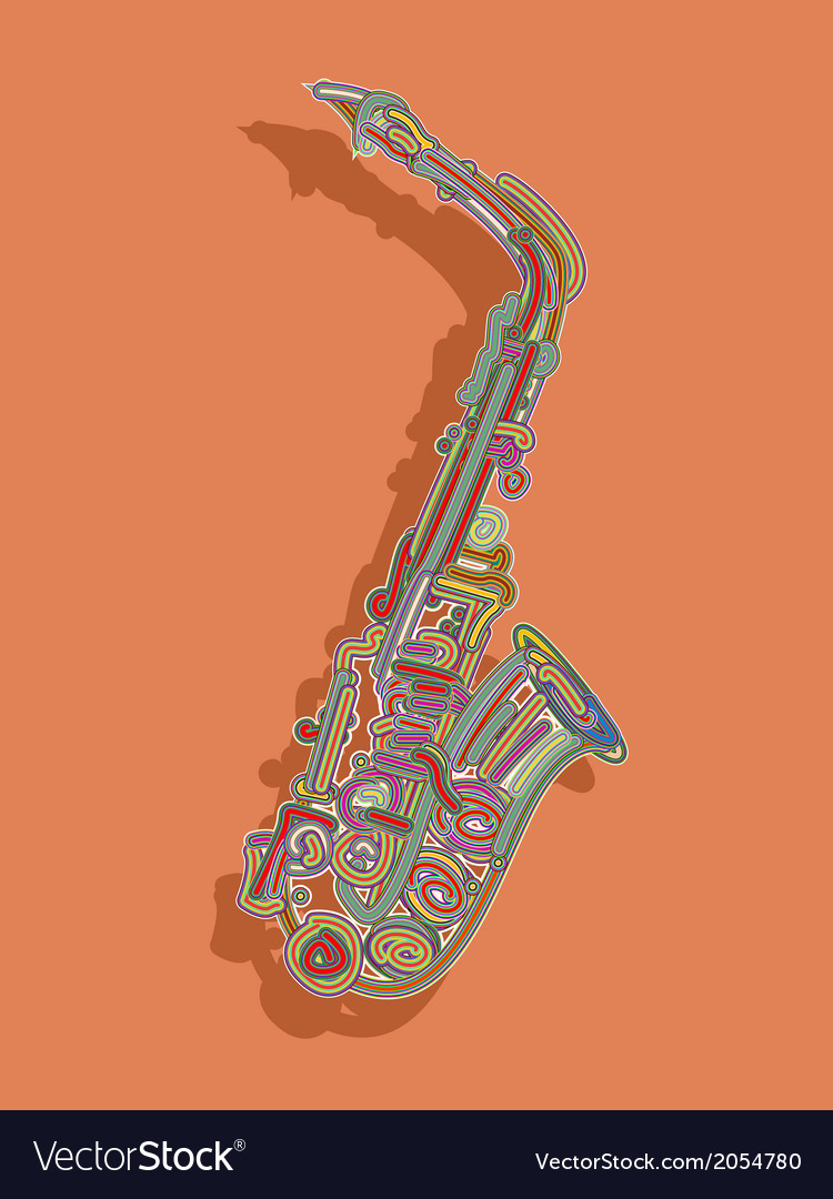 Retro style saxophone card vector | Price: 1 Credit (USD $1)