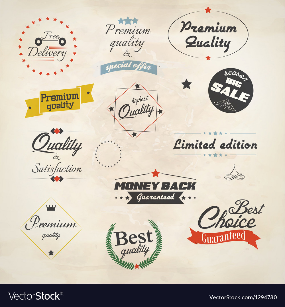 Retro styled sale labels vector | Price: 1 Credit (USD $1)
