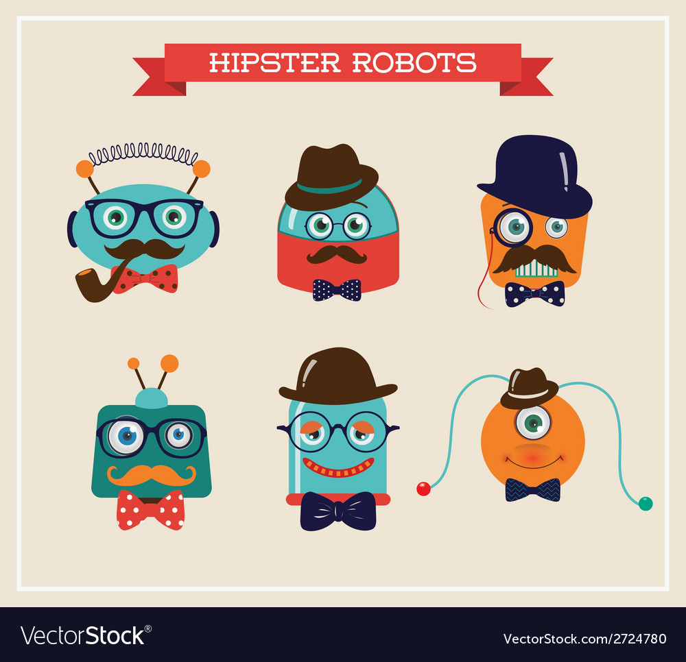 Set of cute retro hipster robots heads vector | Price: 1 Credit (USD $1)