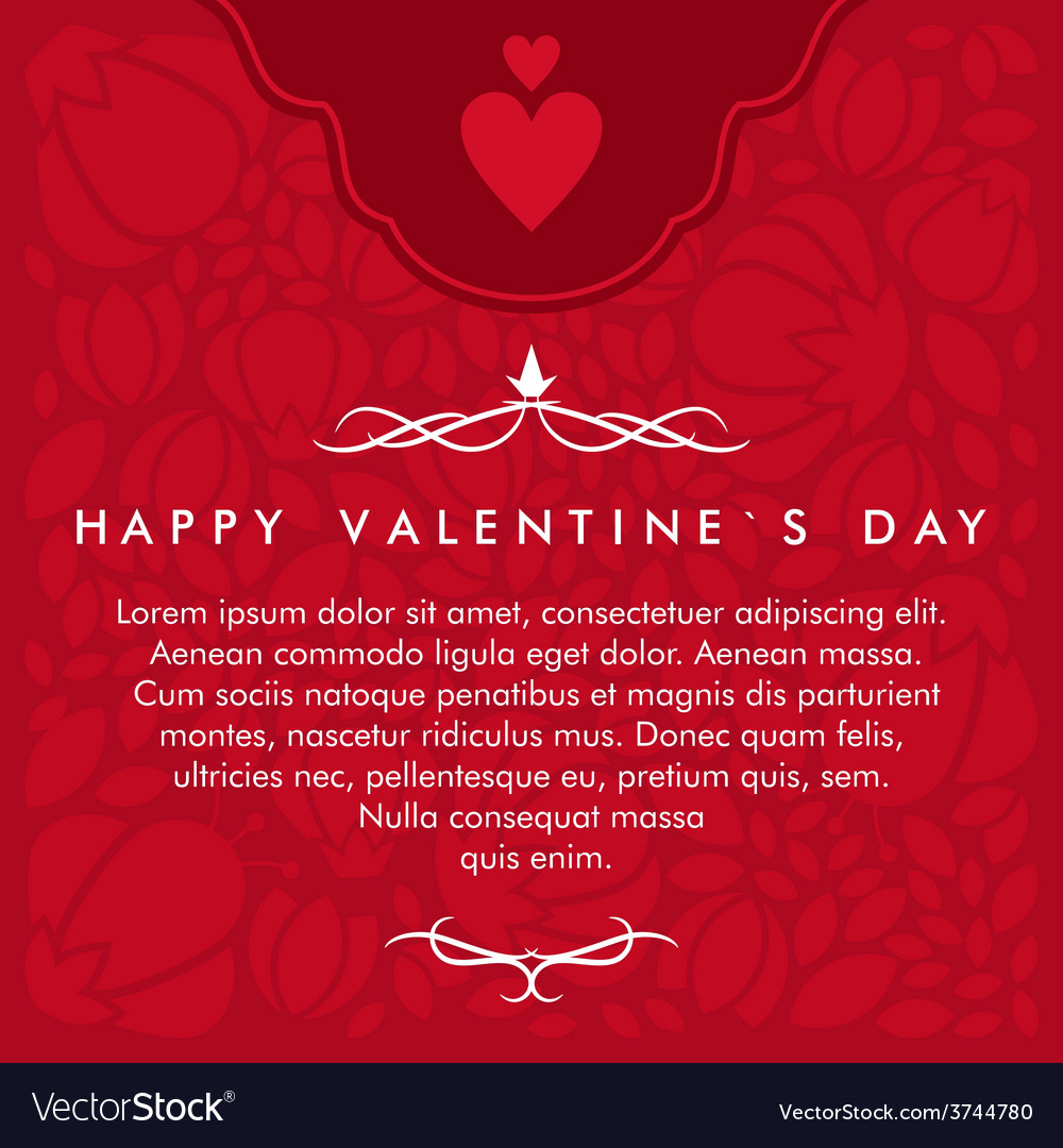 St valentines day greeting card in flat style text vector | Price: 1 Credit (USD $1)