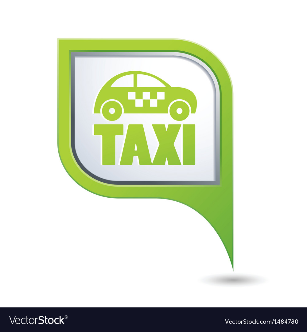 Taxi icon on green map pointer vector | Price: 1 Credit (USD $1)