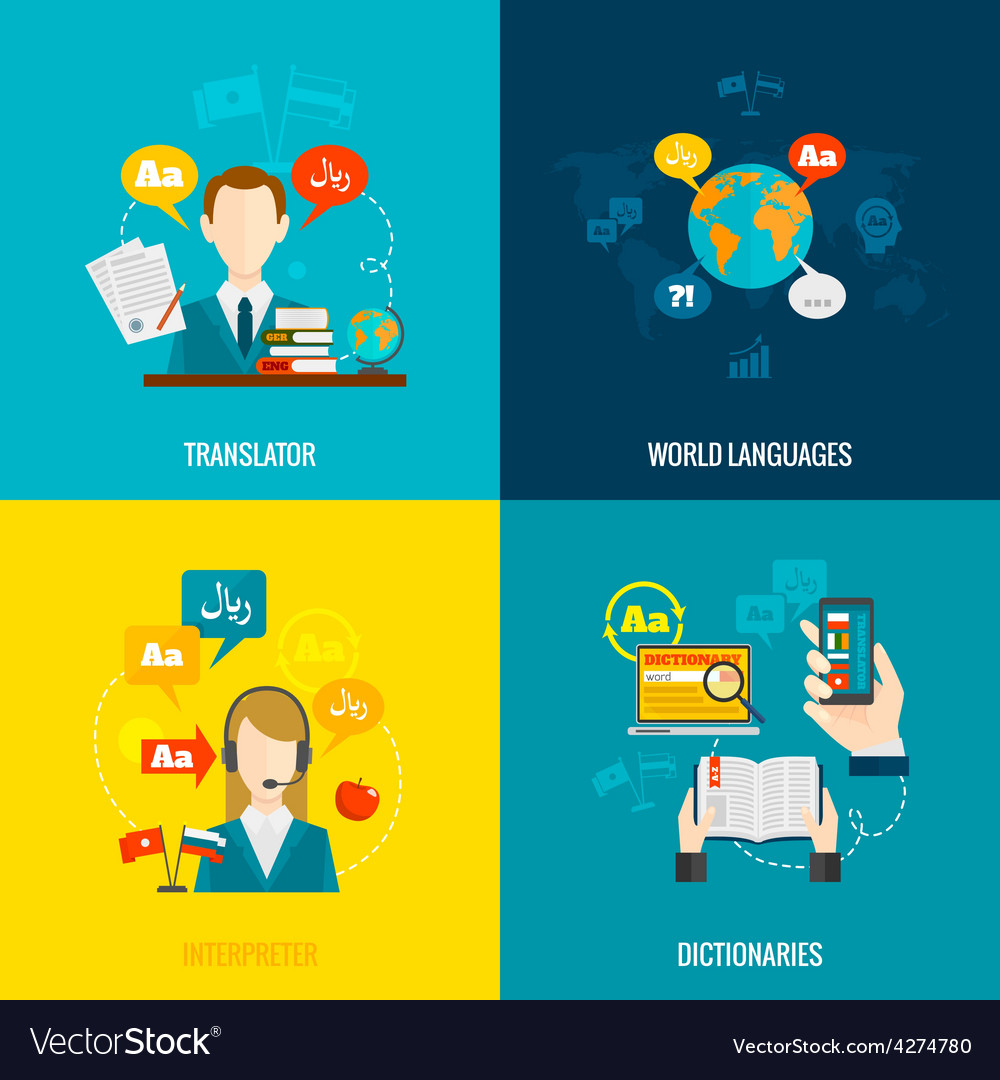 Translation and dictionary flat icons vector | Price: 1 Credit (USD $1)