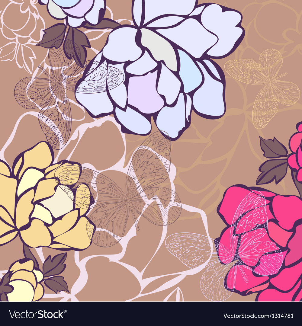A background in flowers and butterflies vector | Price: 1 Credit (USD $1)