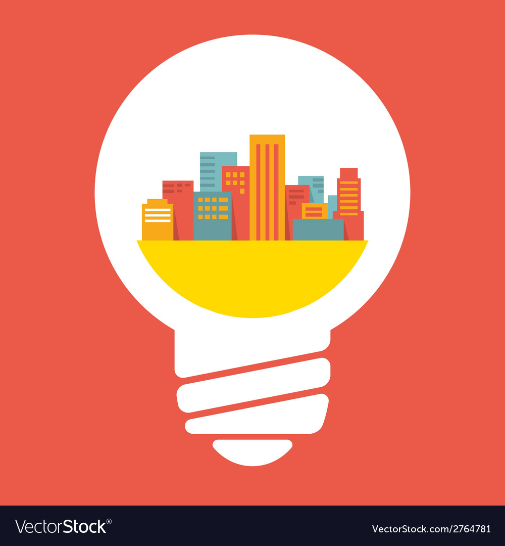 A large city in lightbulb vector | Price: 1 Credit (USD $1)