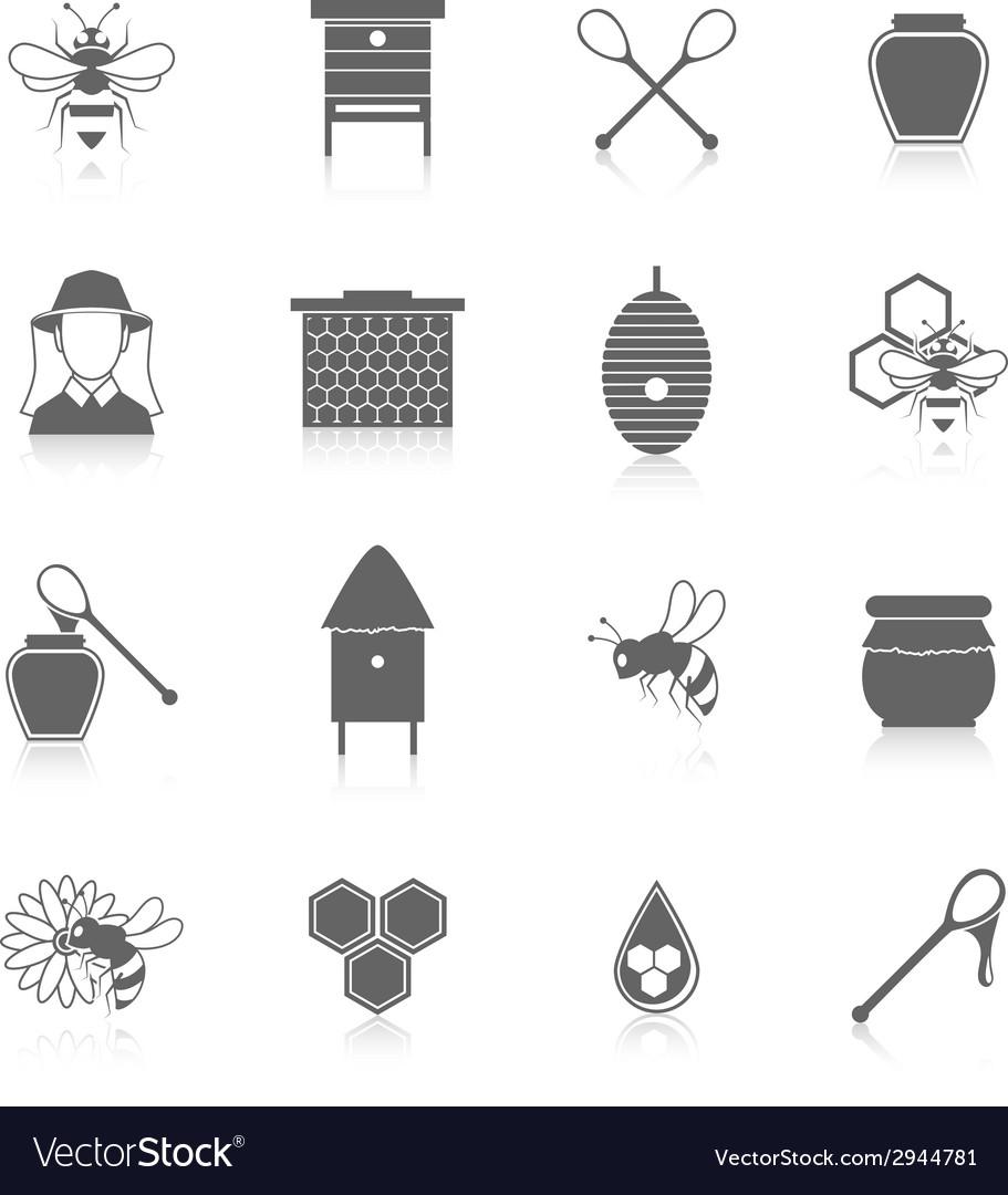 Bee honey icons black set vector | Price: 1 Credit (USD $1)