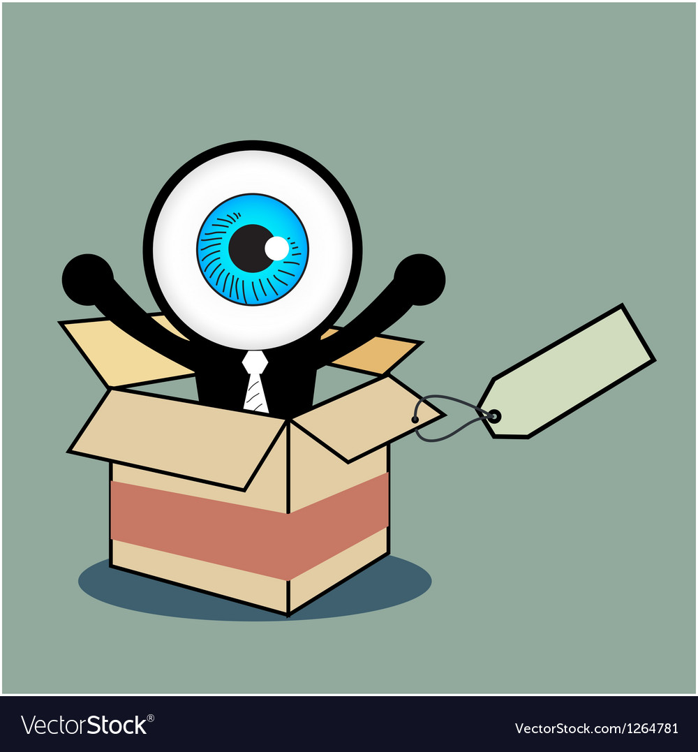 The blue eye happy in gift box vector | Price: 1 Credit (USD $1)
