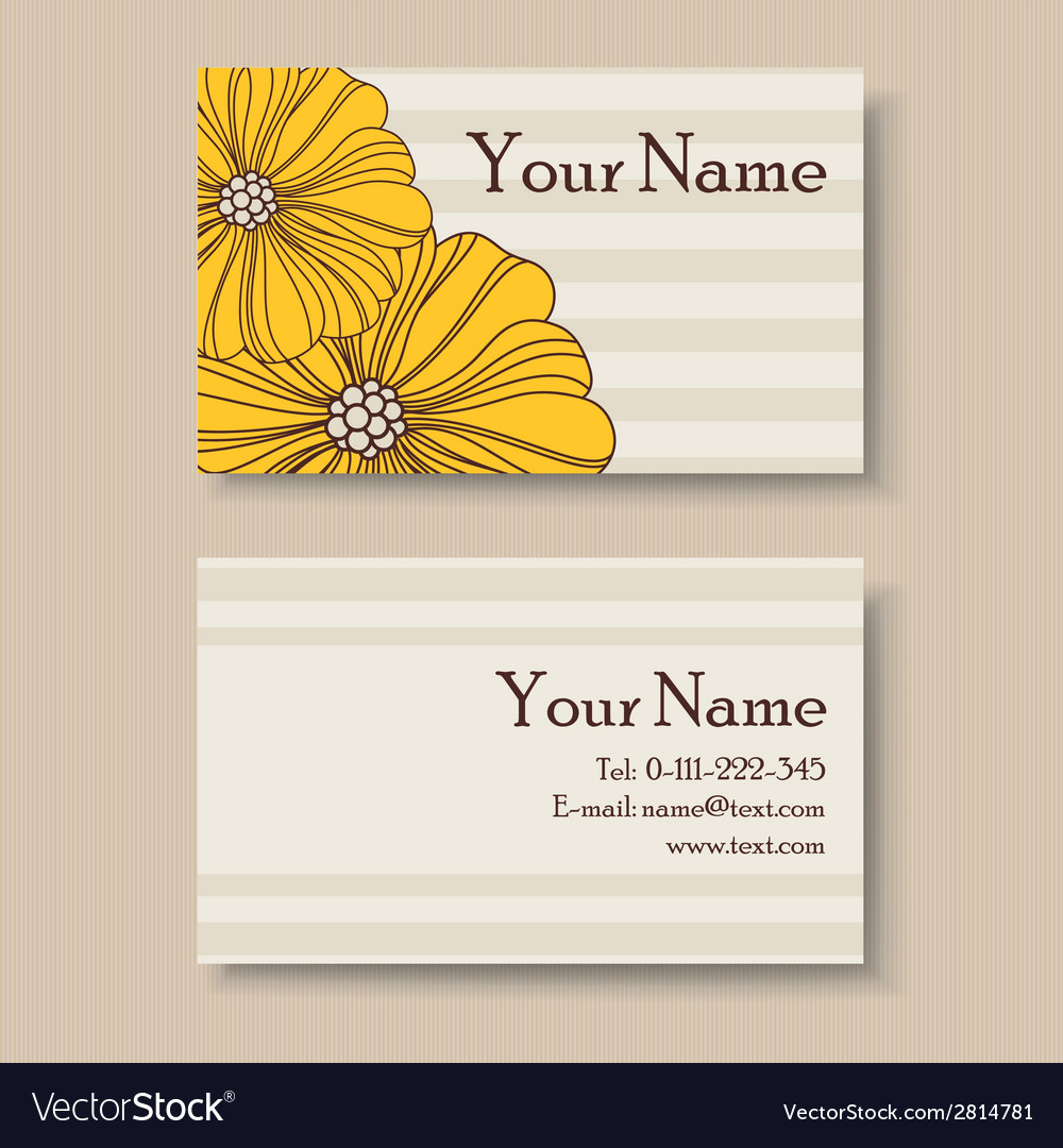 Business card with big yellow flowers vector | Price: 1 Credit (USD $1)