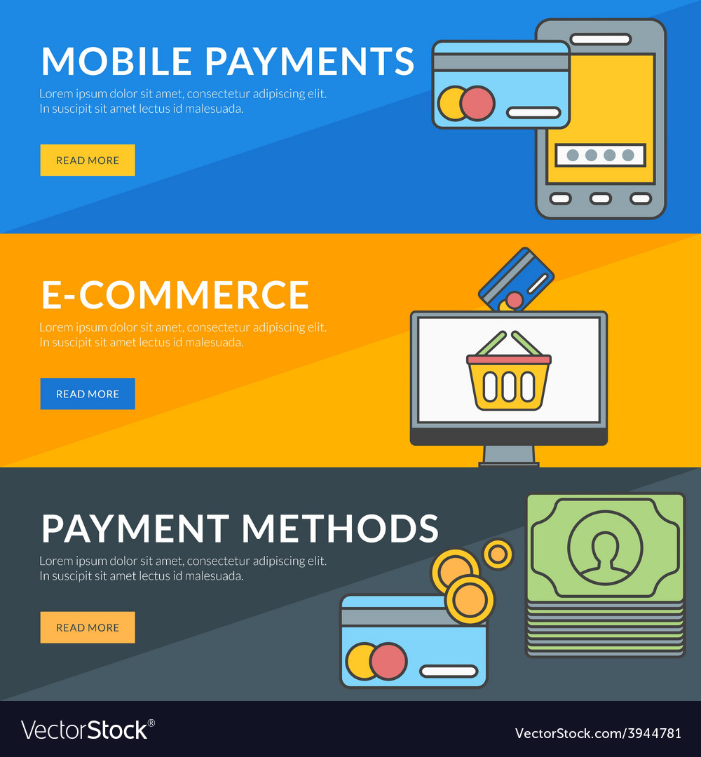 Flat design concept for mobile payments e-commerce vector   Price: 1 Credit (USD $1)