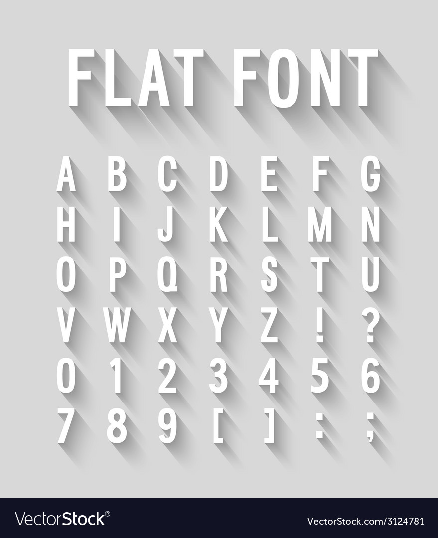 Flat font with long shadow effect vector | Price: 1 Credit (USD $1)