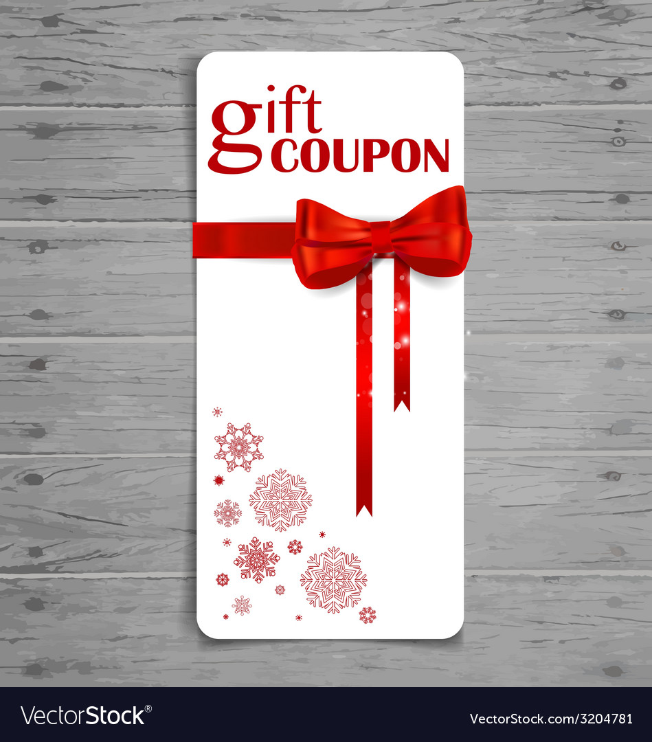 Gift coupon with gift bow and ribbon vector | Price: 1 Credit (USD $1)