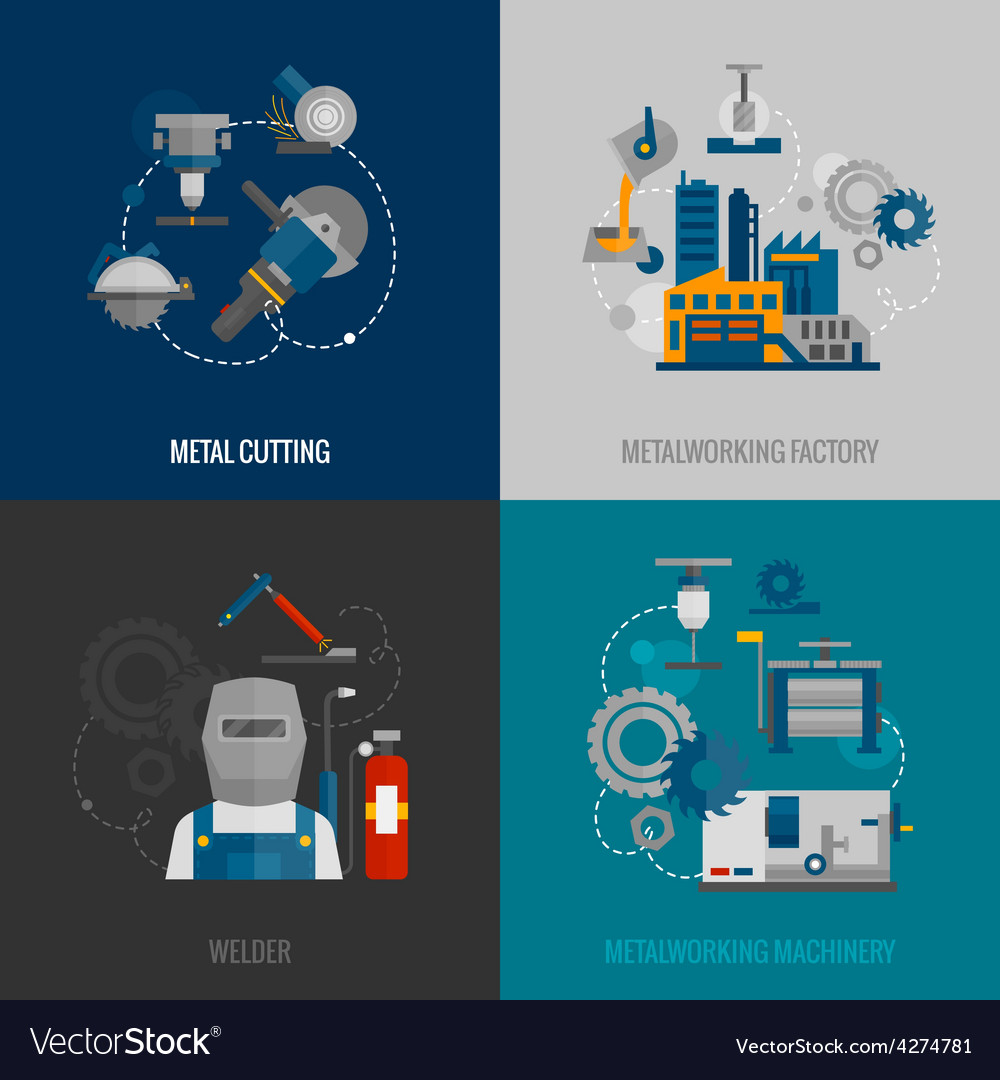 Metalworking factory 4 flat icons vector | Price: 1 Credit (USD $1)