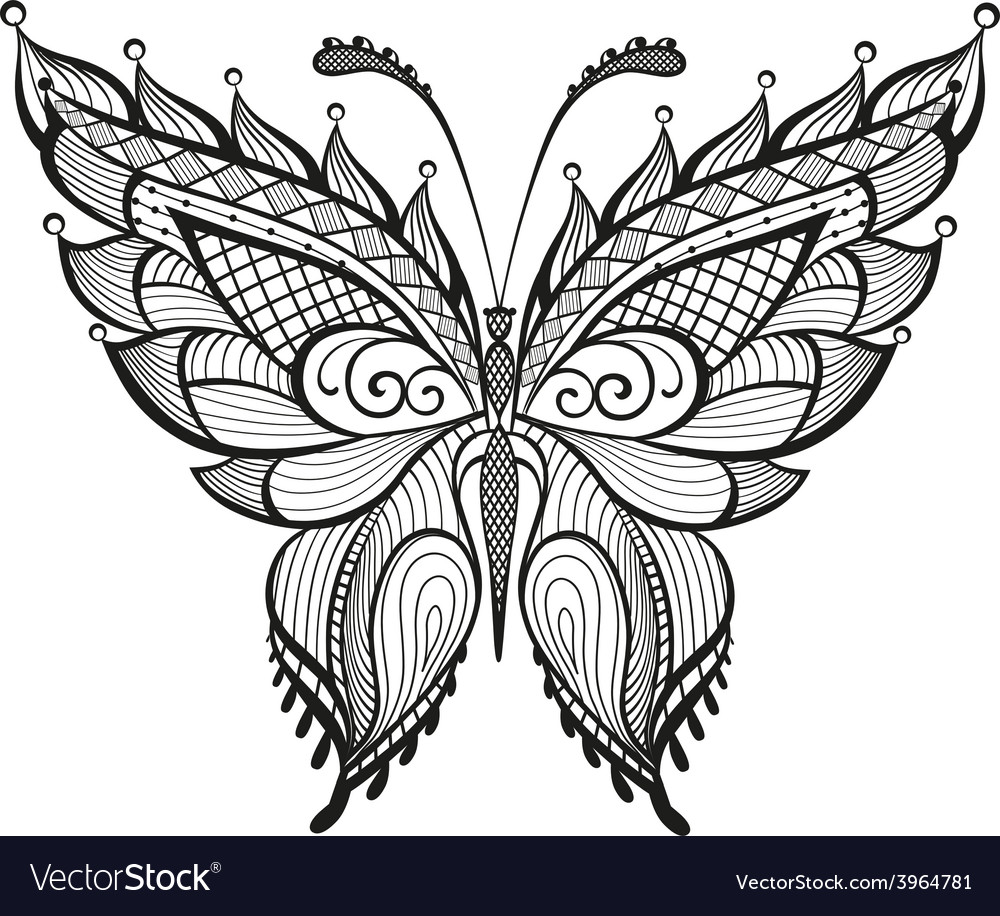 Ornamented abstract butterfly vector | Price: 1 Credit (USD $1)