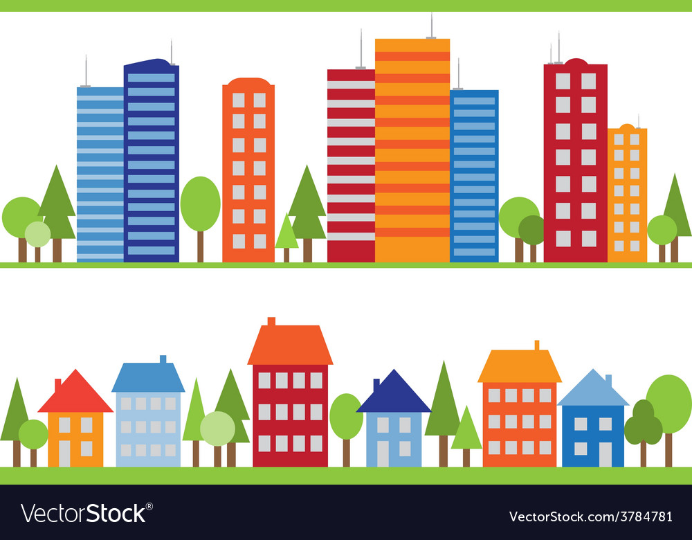 Seamless pattern of city town or village vector | Price: 1 Credit (USD $1)