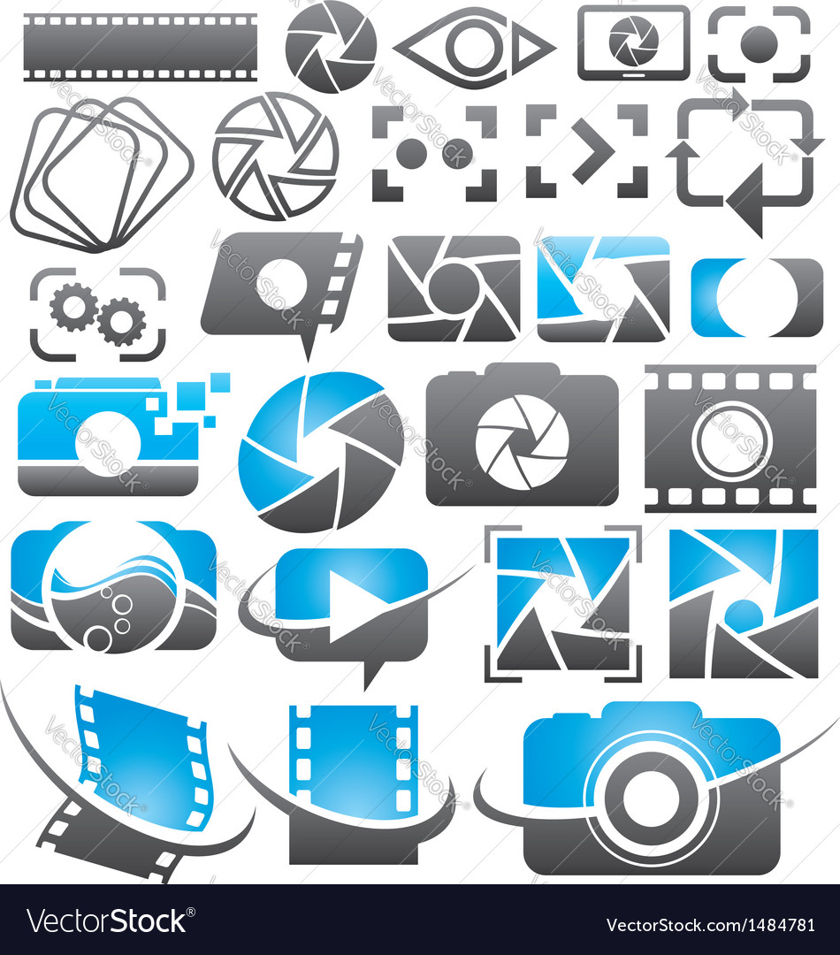 Set of camera icons symbols and logos vector | Price: 1 Credit (USD $1)