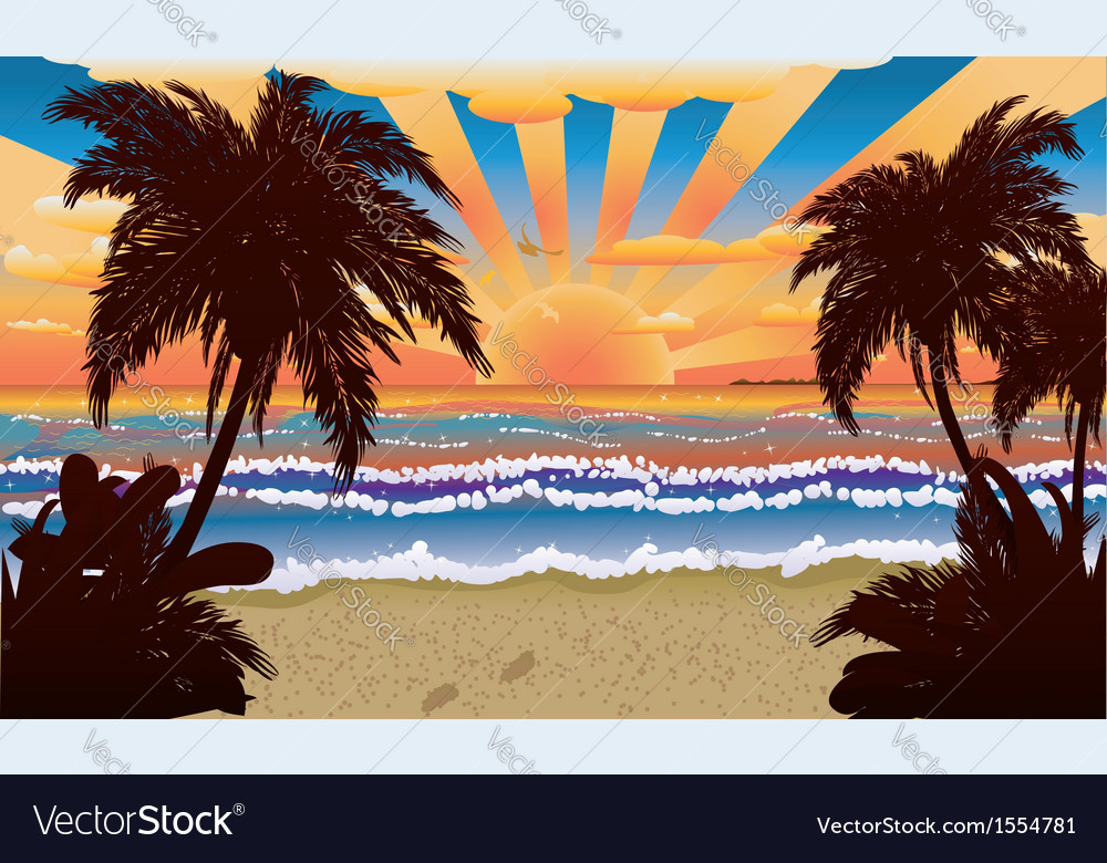 Sunset on beach with palms vector | Price: 3 Credit (USD $3)