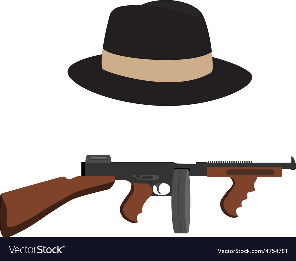 Tommy gun and fedora hat vector | Price: 1 Credit (USD $1)