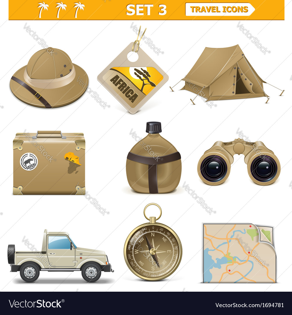 Travel icons set 3 vector | Price: 1 Credit (USD $1)