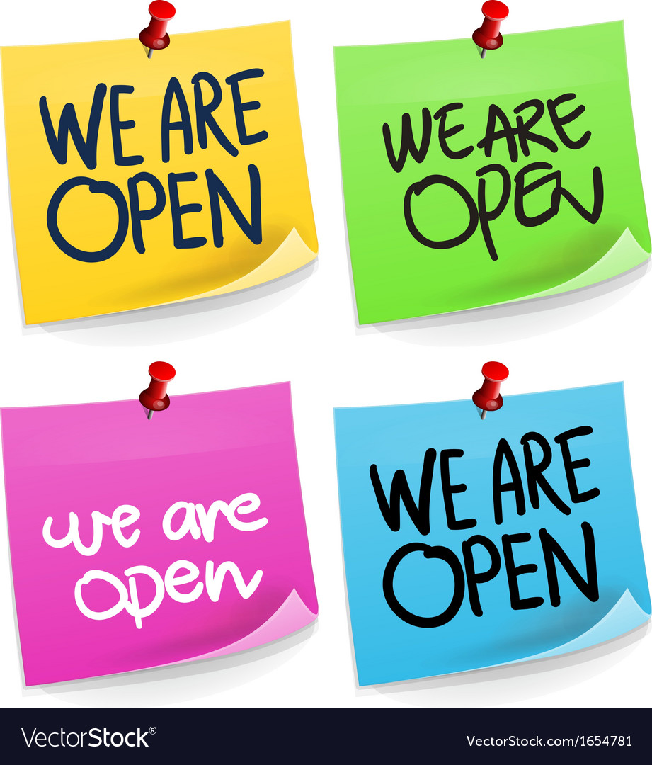 We are open sticky note vector | Price: 1 Credit (USD $1)