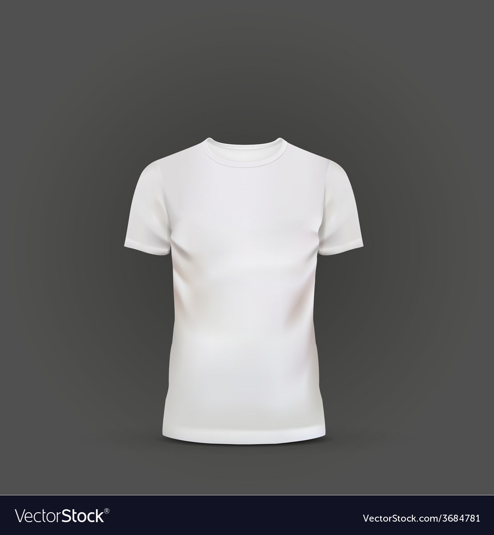 White t-shirt template isolated on black vector | Price: 1 Credit (USD $1)