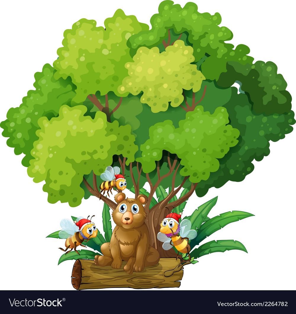A bear sitting above the log surrounded with bees vector | Price: 1 Credit (USD $1)