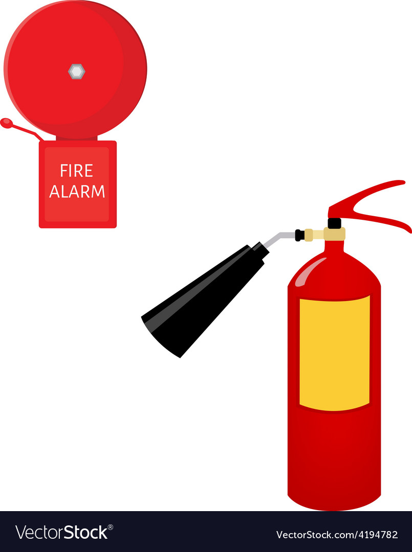 Fire extinguisher and alarm bell vector | Price: 1 Credit (USD $1)