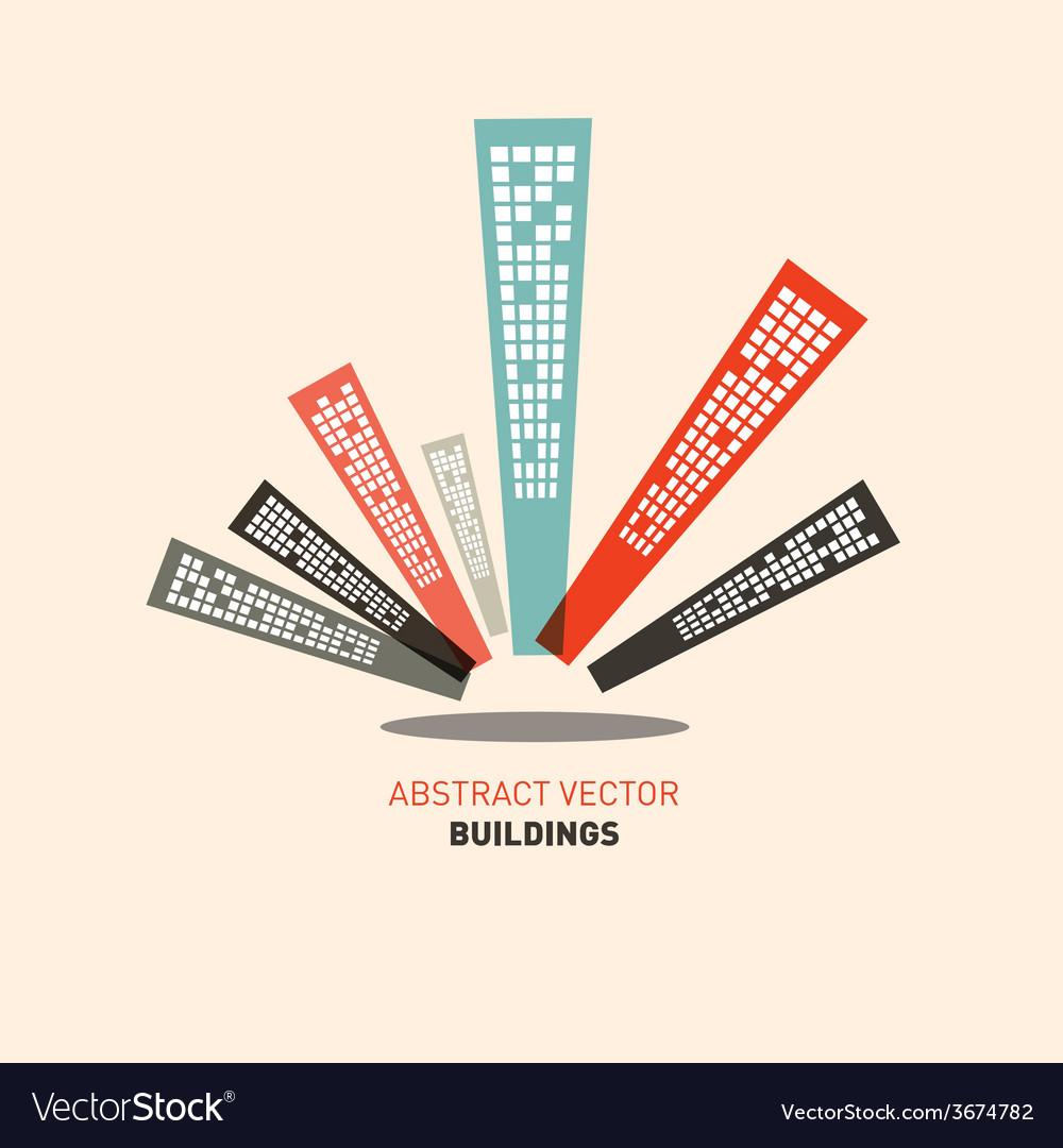 Flat design buildings vector | Price: 1 Credit (USD $1)