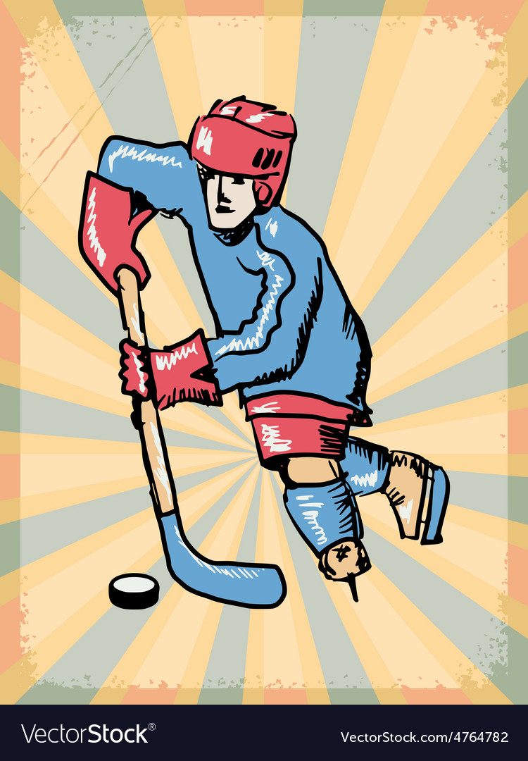 Grunge background with hockey player vector | Price: 1 Credit (USD $1)
